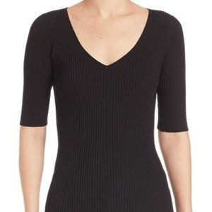 Akris Punto Ribbed V Neck Half Sleeve Navy Sweater